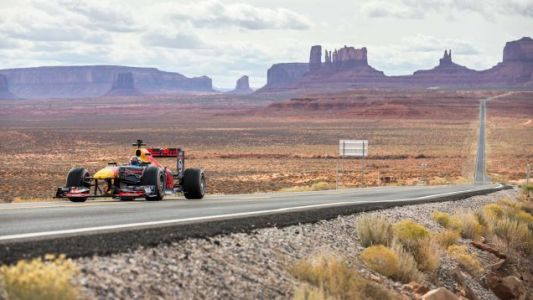 There Is An F1 Car 'Road Tripping' But Not Really Across America
