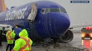 Southwest plane skids off tarmac due to inclement weather