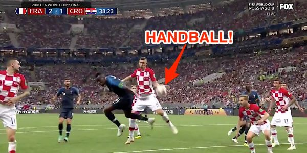 France scores crucial goal in World Cup final after VAR overturned a no-call into a handball