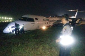Biman Bangladesh Airlines flight skids on the runway and breaks into pieces, passengers injured