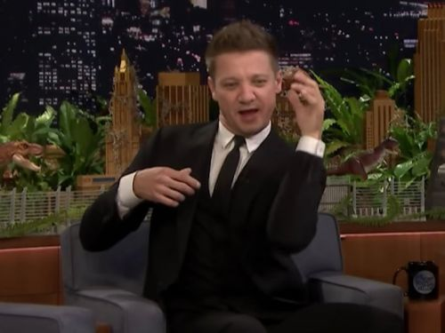 Jeremy Renner explains how he broke both his arms while filming the movie 'Tag' - and how he ended up locked in a bathroom