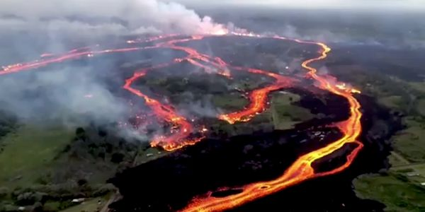 Aerial video shows huge lava flows streaming from Hawaii's Kilauea volcano days after it erupted