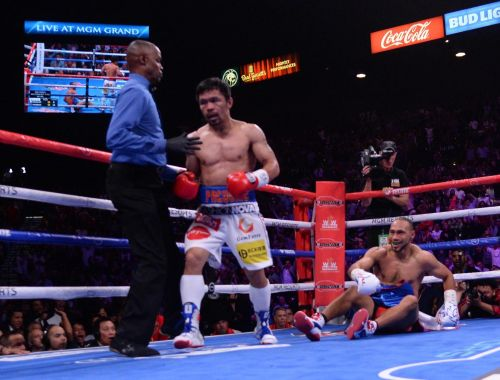 Manny Pacquiao produced an all-time great performance to dominate Keith Thurman in style, with Floyd Mayweather watching ringside