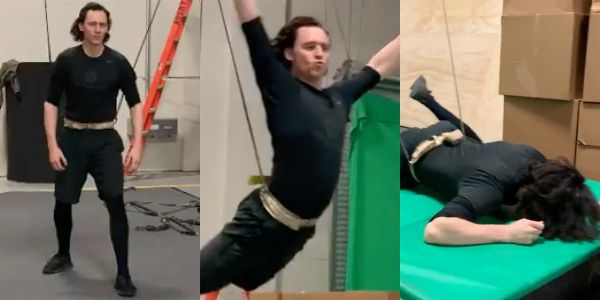 Tom Hiddleston shares footage of himself flying and falling as he preps for his upcoming 'Loki' Marvel show