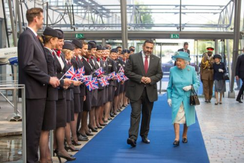 Her Majesty The Queen Visits British Airways' Headquarters to Mark the Airline's Centenary