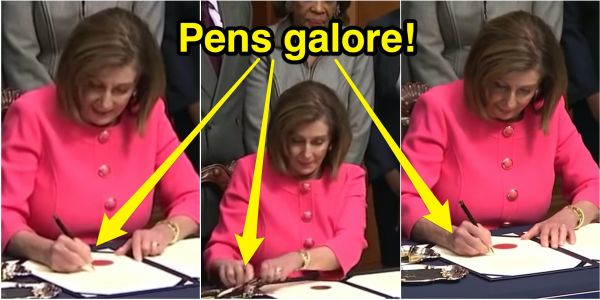 Nancy Pelosi angered Republicans by using 30 different personalized pens to sign Trump's 'sham' impeachment articles