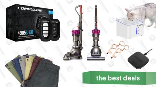 Saturday's Best Deals: Remote Car Starter Kit, JACHS NY Stretch Tech Pants, Dyson Ball Vacuum, Ravpower Wireless Charging Pad, Pet Water Fountain, Door Opening Multi-Tool, and More
