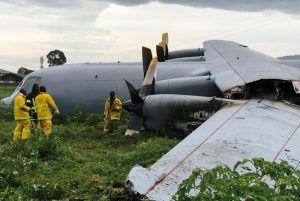 After landing in Congo plane caught fire