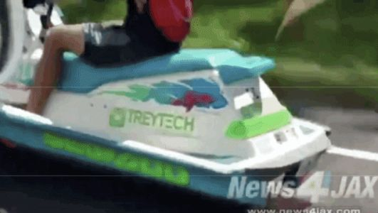 Watch a True Innovator Drive a Motorized Jet Ski in Florida