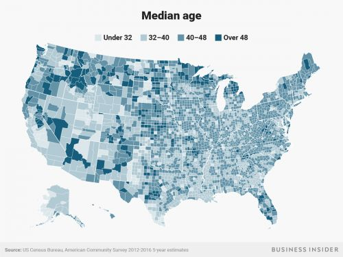 Here are the oldest and youngest places in America, in one map
