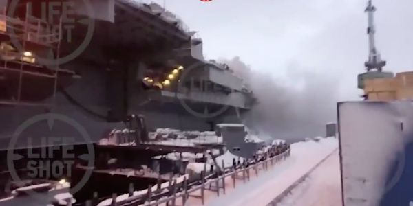 Russia's famously bad Admiral Kuznetsov aircraft carrier burst into flames during repair work, injuring at least 5 people